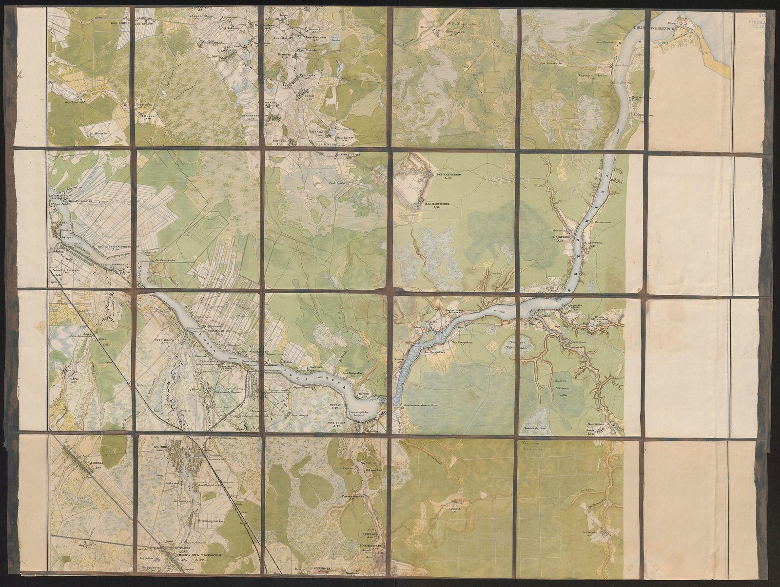 Pietarin itäpuoliset alueet, kartta