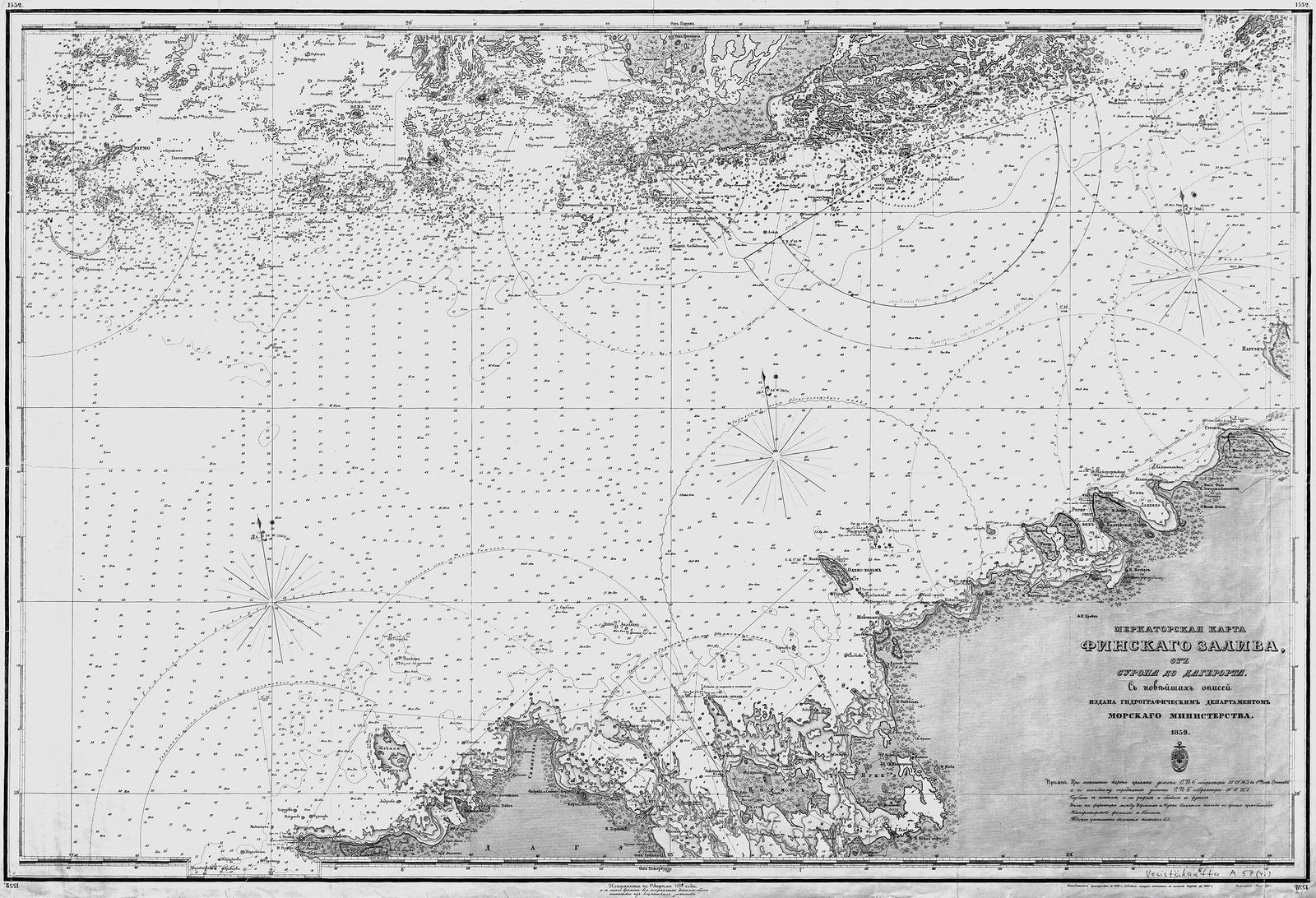 1861. Карта Финского залива от Суропа до Дагерорта