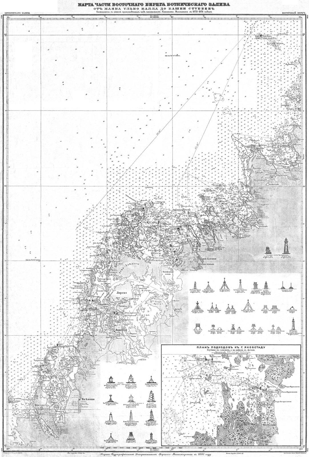 1883. Карта части восточного берега Ботнического залива