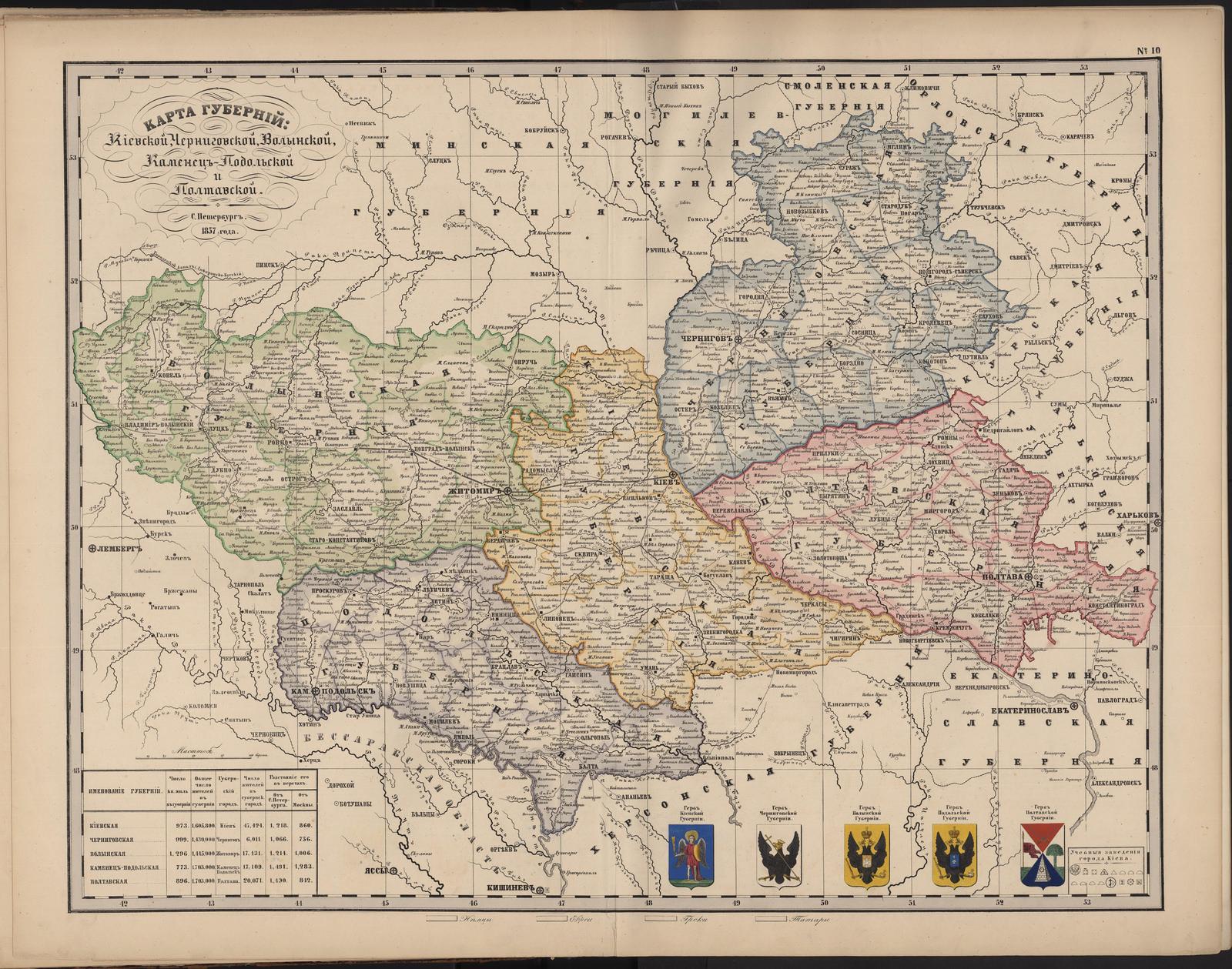 10. Карта губерний Киевской, Черниговской, Волынской, Каменец-Подольской и Полтавской