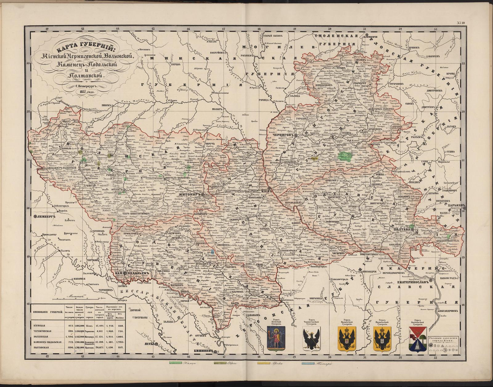 10-а. Карта губерний Киевской, Черниговской, Волынской, Каменец-Подольской и Полтавской (этн)