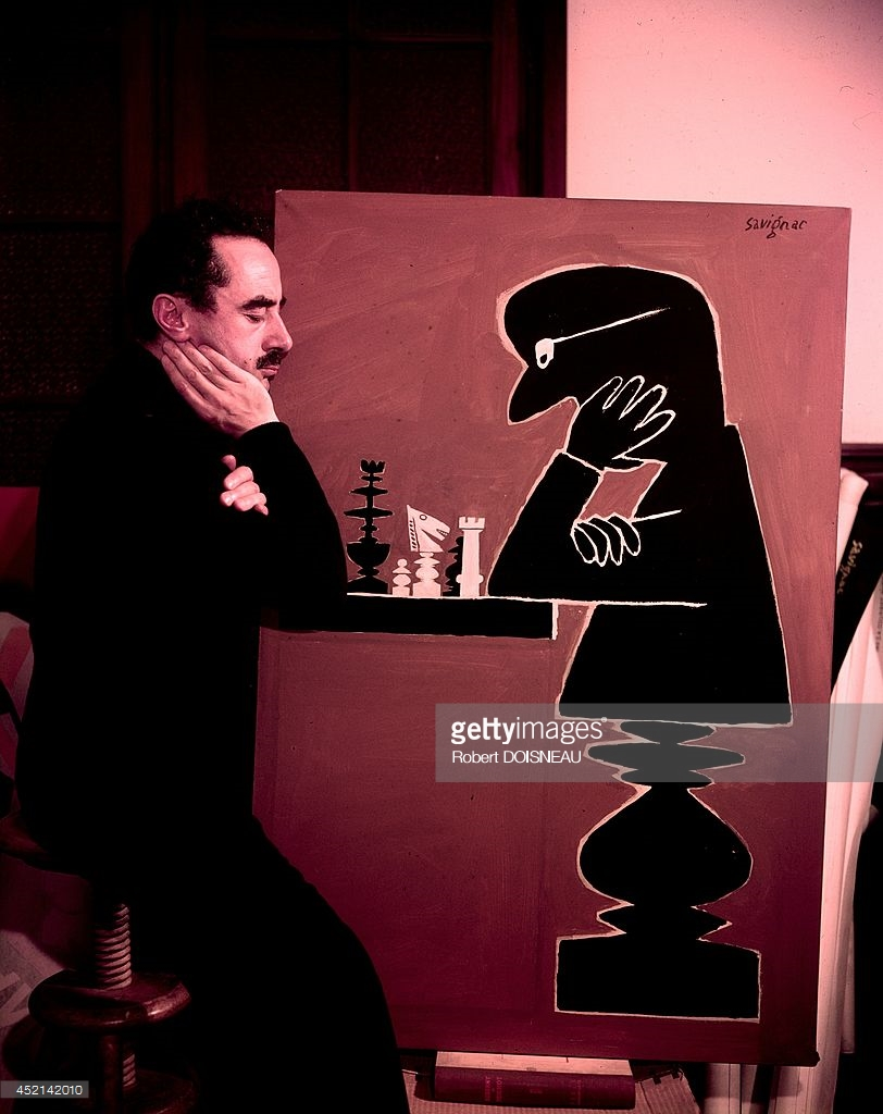 1950. Савиньяк, графический дизайнер из Аверона за игрой в шахматы.jpg
