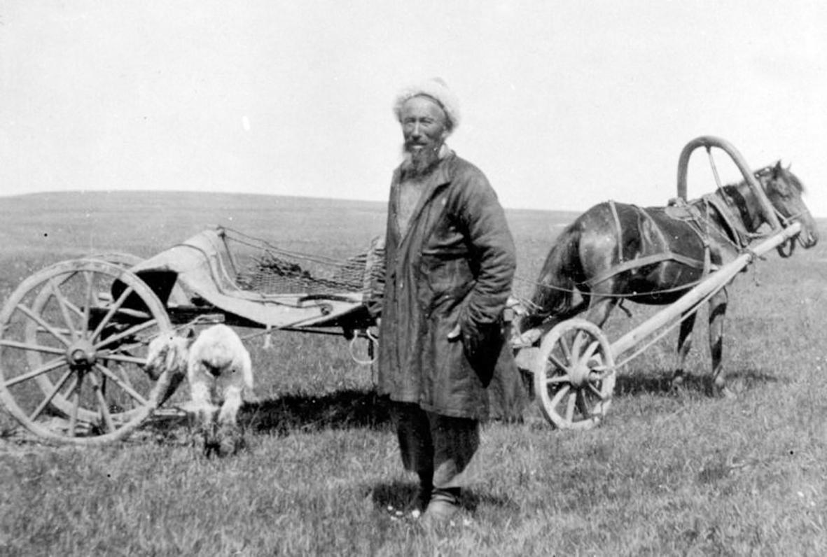 1916. Казахский бедняк везет овцу в качестве взятки начальству..jpg