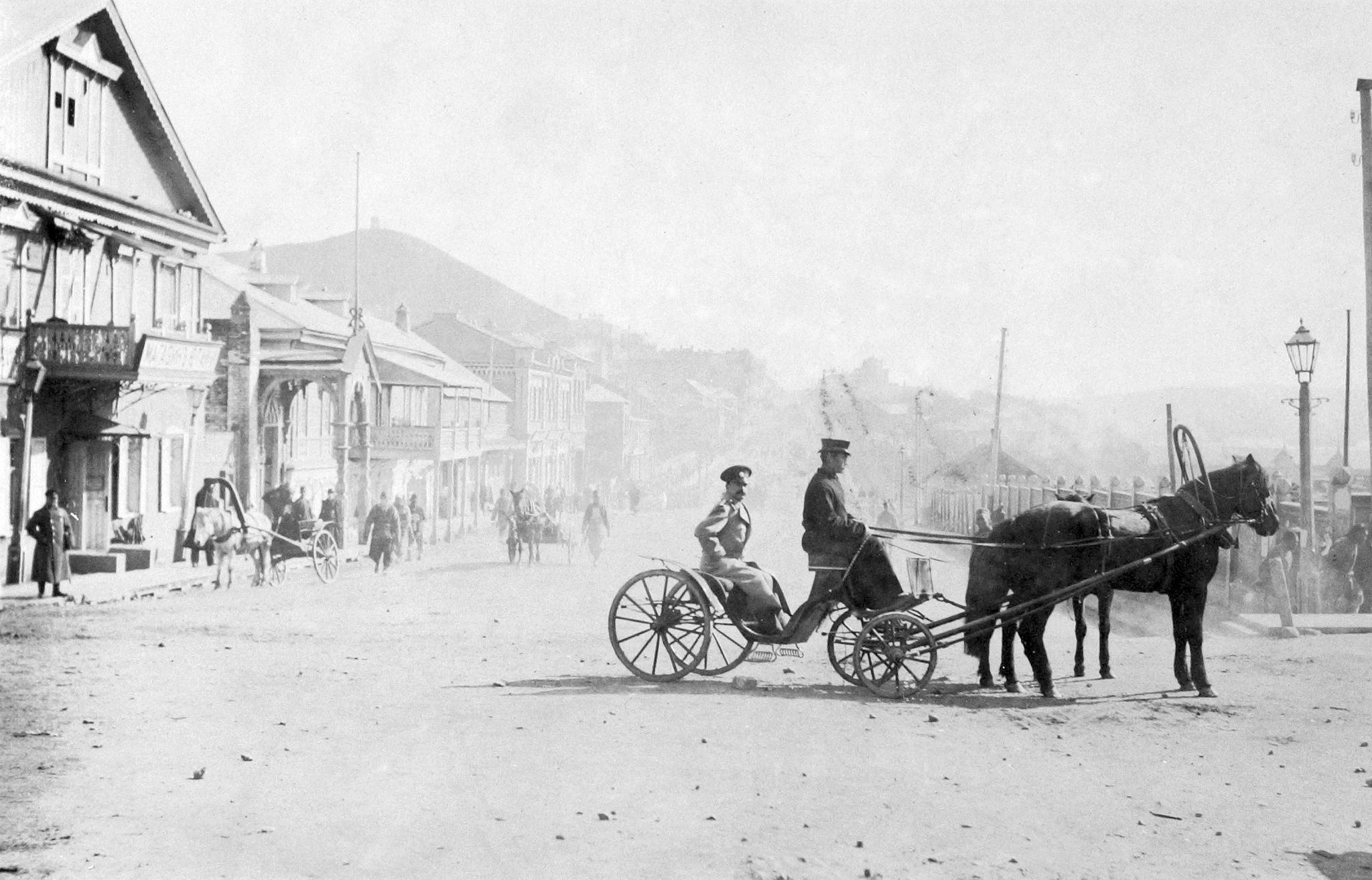 Извозчик на фоне Светланской. 1893