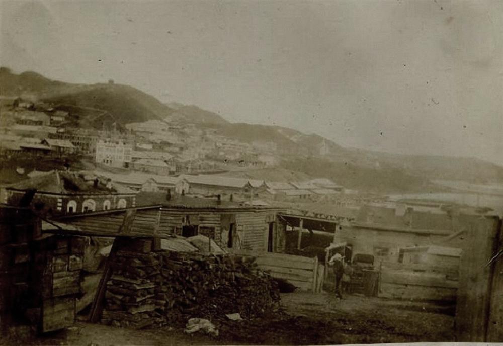 Вид от товарной станции на старый базар и город. 1895