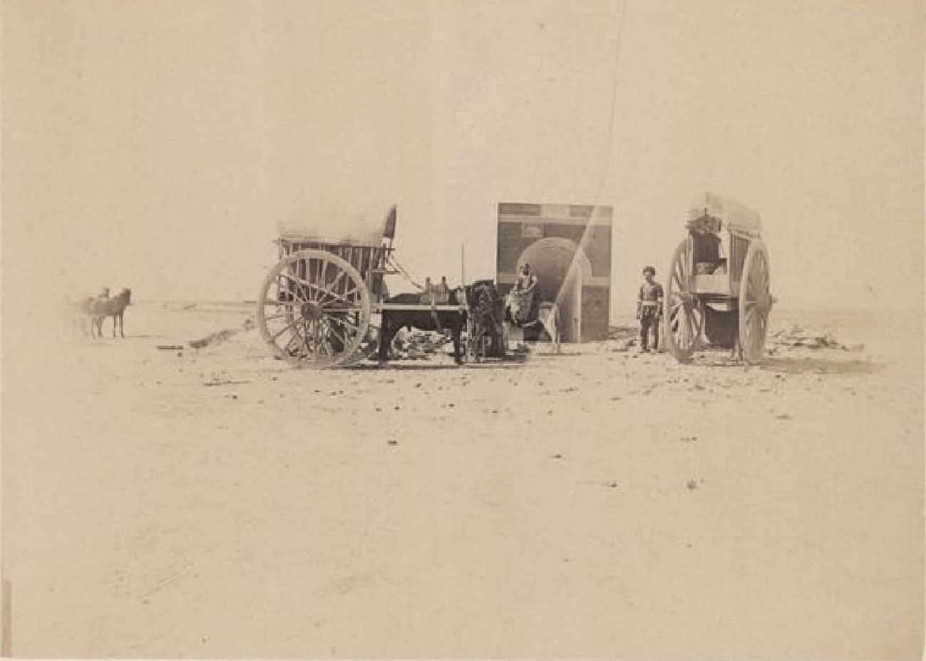 21. Сангачалы, пресноводный фонтан с двумя арбами и моим экипажем