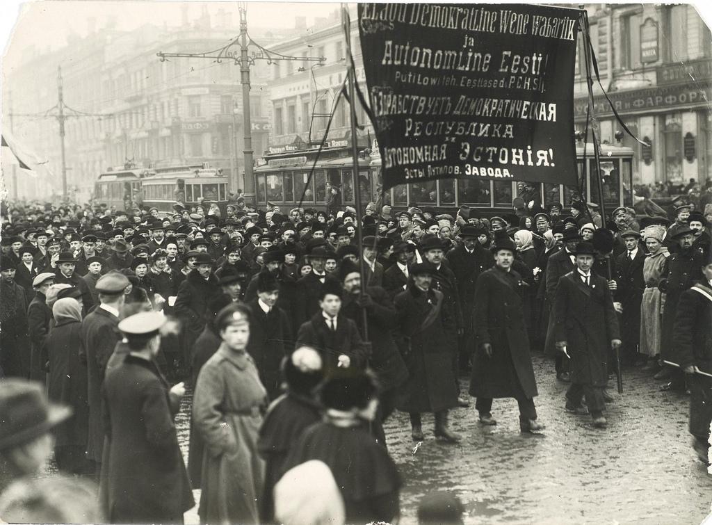 Демонстрация эстонцев - рабочих Путиловского завода.