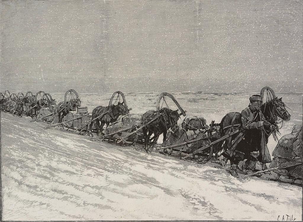 1880. Караван саней, перевозящий чай из Томска в Иркутск