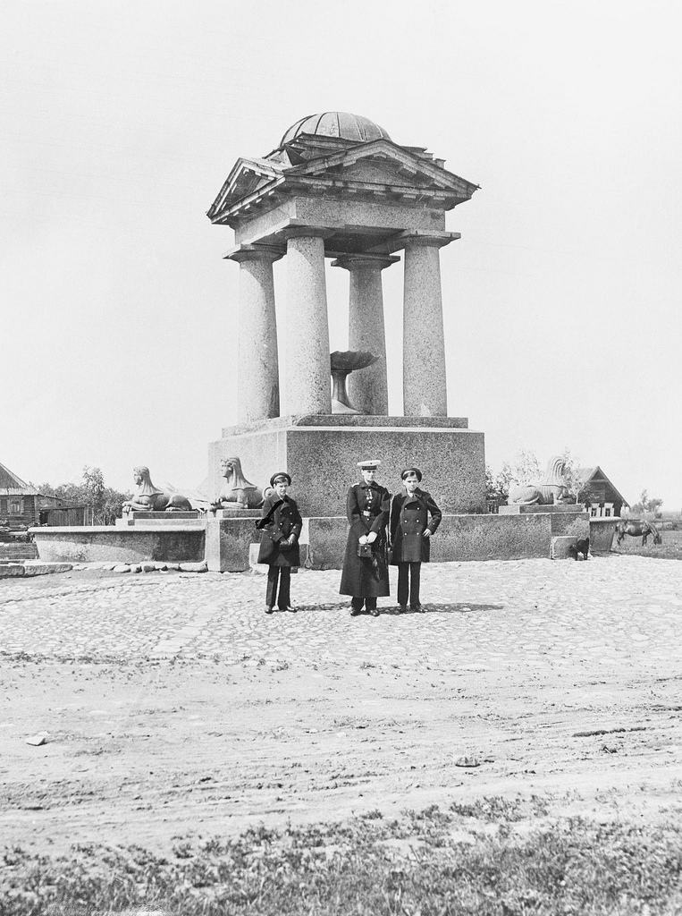Подгорное Пулково. Фонтан со сфинксами. 1905