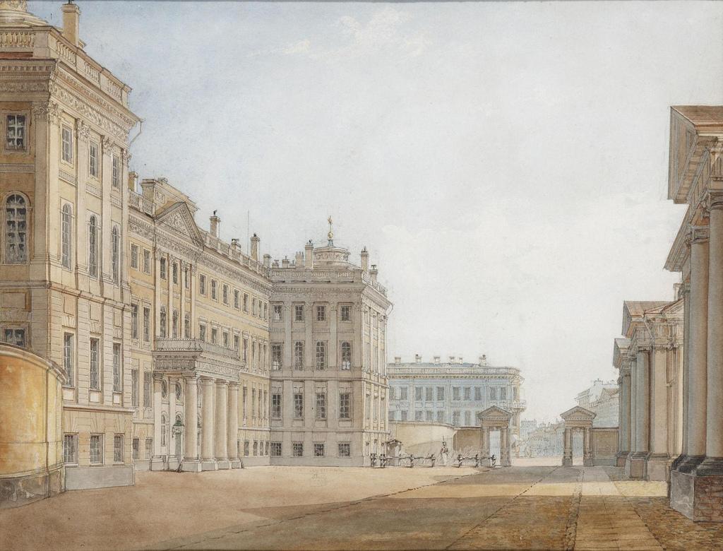 1830-е. Вид Аничкова дворца с парадного двора