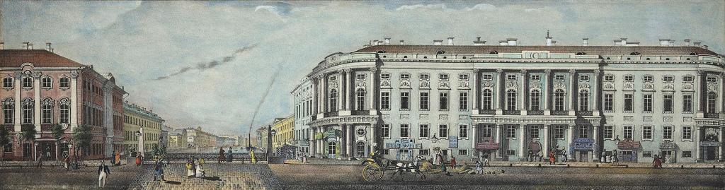 1830-е. Панорама Невского проспекта. Строгановский дворец