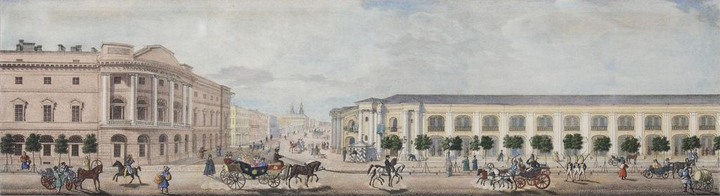 1830-е. Панорама Невского проспекта. У перекрёстка с Садовой улицей