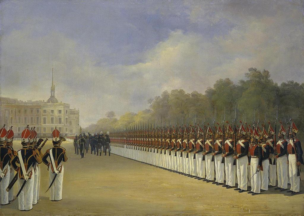 1830-е. Парад Павловского гвардейского полка на Марсовом поле