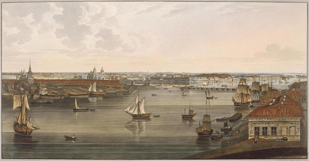 1805-1807. Вид на Адмиралтейство, старый Исаакиевский собор, Английскую набережную и здание Академии Наук на Васильевском острове
