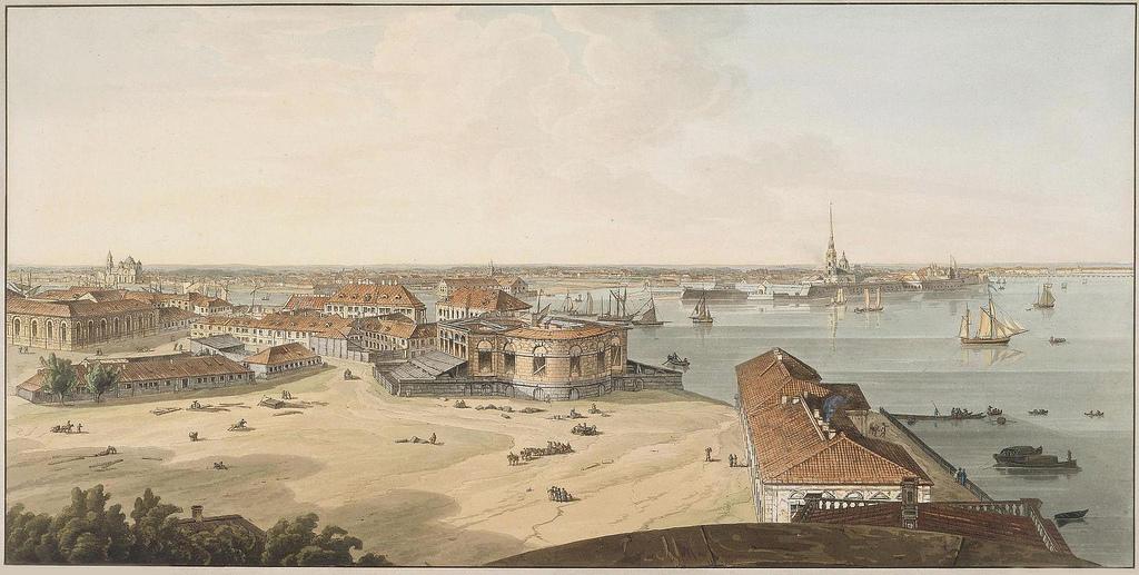 1805-1807. Вид на стрелку Васильевского острова и Петропавловскую крепость