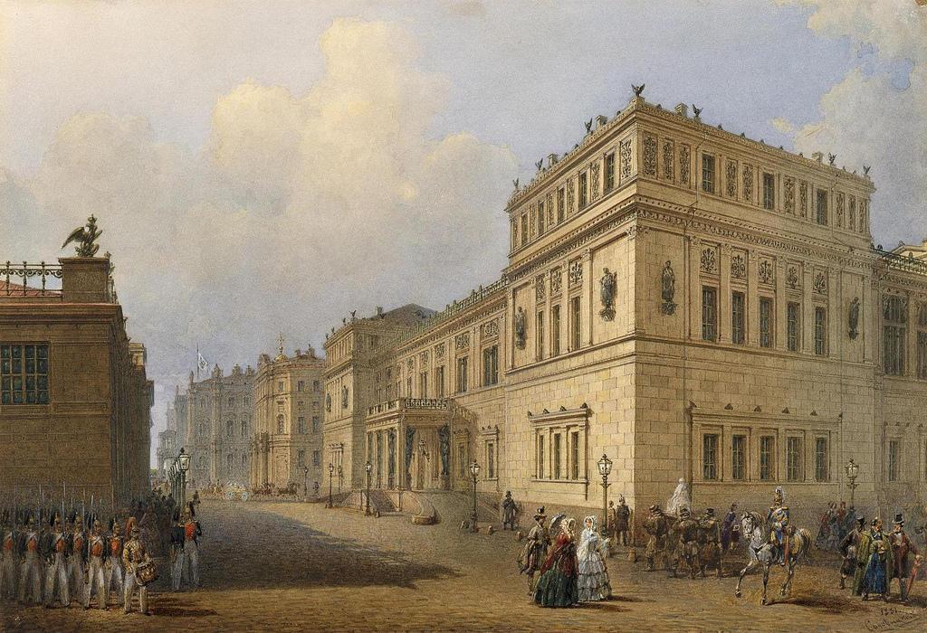 1851. Вид Нового Эрмитажа и Миллионной улицы