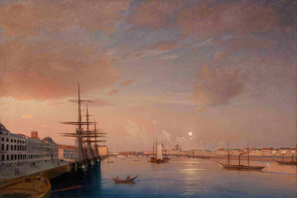 1852. Вид Благовещенского моста и Николаевской набережной