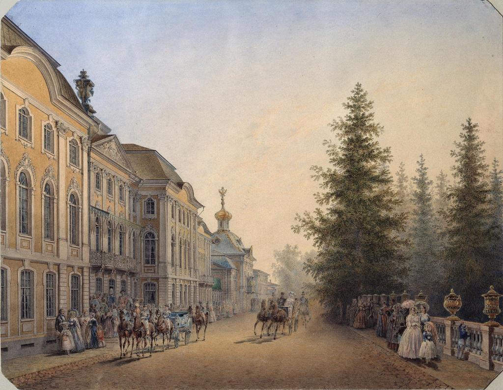 1852. Главный вход в Большой дворец в Петергофе