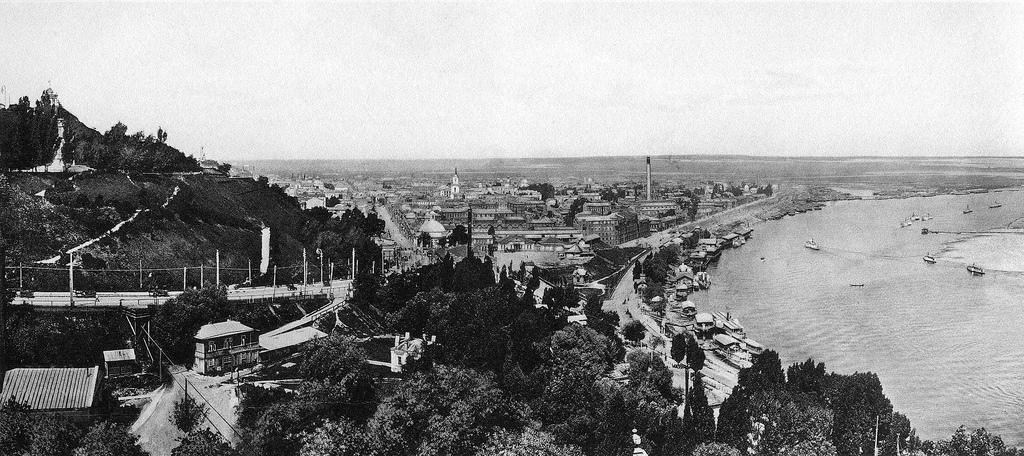 Вид на Подол и Владимирский (Александровский) спуск. 1905—1906