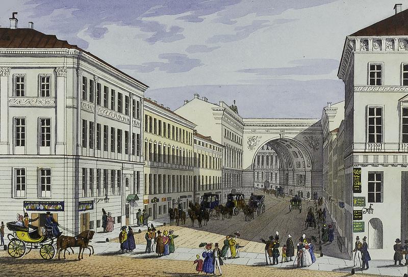 Английский магазин, Малая Миллионная ул. и дом Котомина. 1830—1842