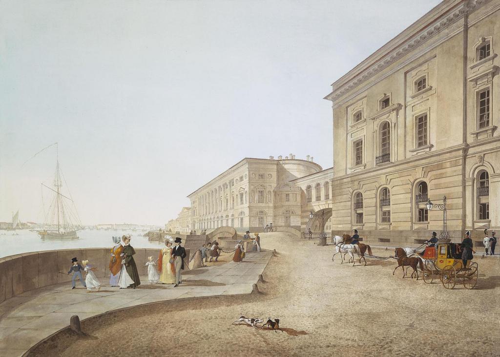 Вид набережной Невы у здания Старого Эрмитажа