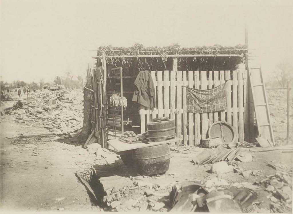 Касамацу. Временная лавка после землетрясения