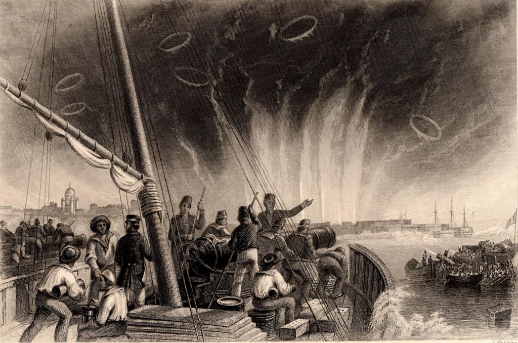 28 июля (9 августа) 1855 года британский флота начал интенсивную бомбардировку Свеаборга. После двухдневного артиллерийского боя эскадра ушла от Свеаборга, потеряв несколько мортирных кораблей и произведя незначительные пожары и разрушения в крепости