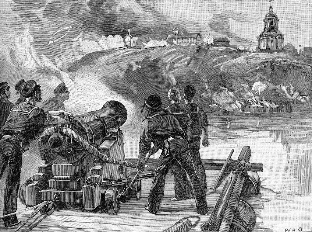 Импровизированная британская плавучая батарея в виде корабельного орудия, установленного на наспех сколоченном плоту, ведет обстрел Таганрога.