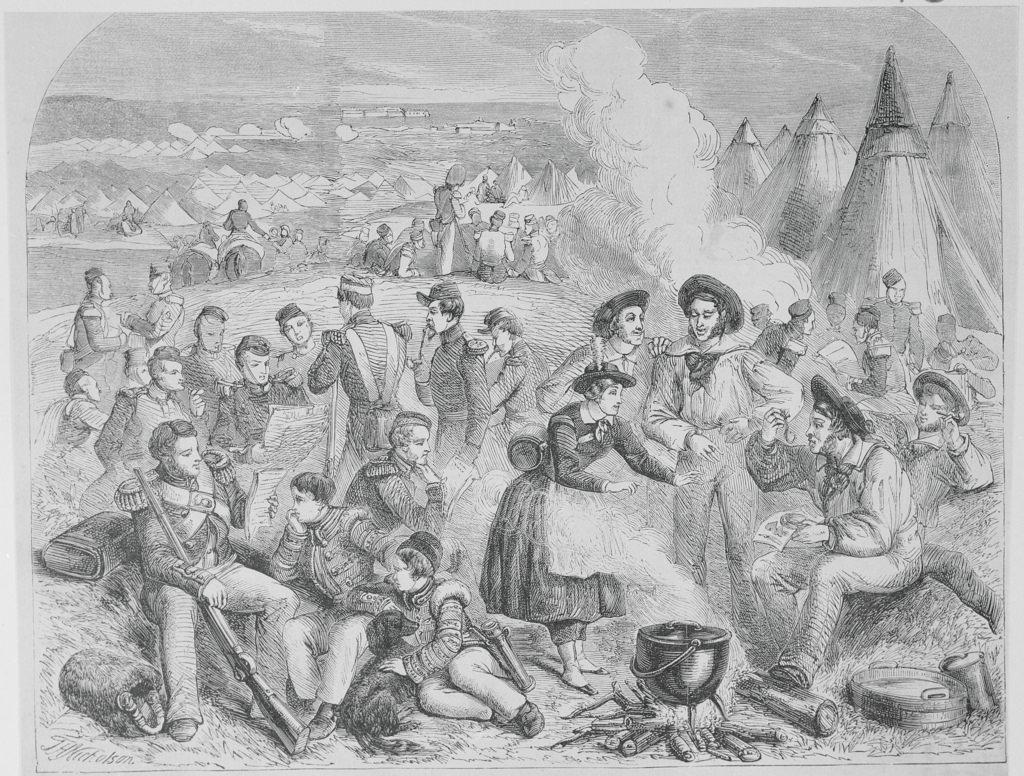 Прибытие почты из Лондона в английский лагерь