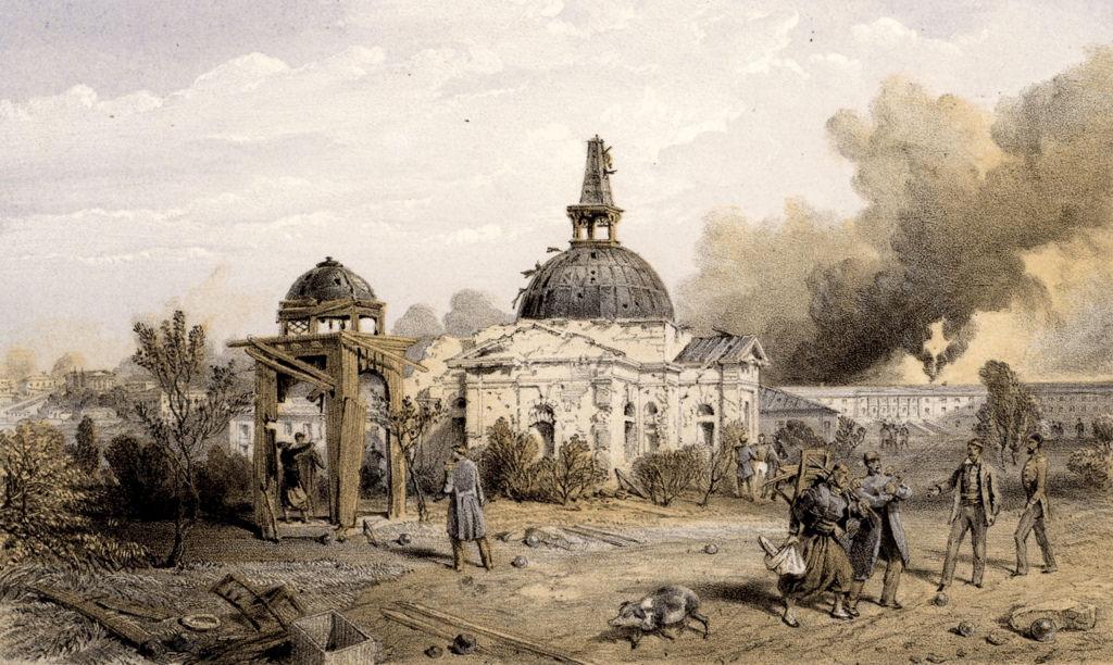 Поврежденная церковь возле Редана после русской капитуляции 30 августа (11 сентября) 1855