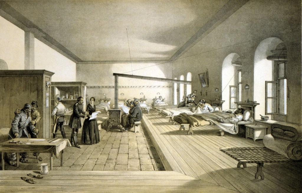 Флоренс Найтингейл осматривают палату в военном госпитале в Скутари