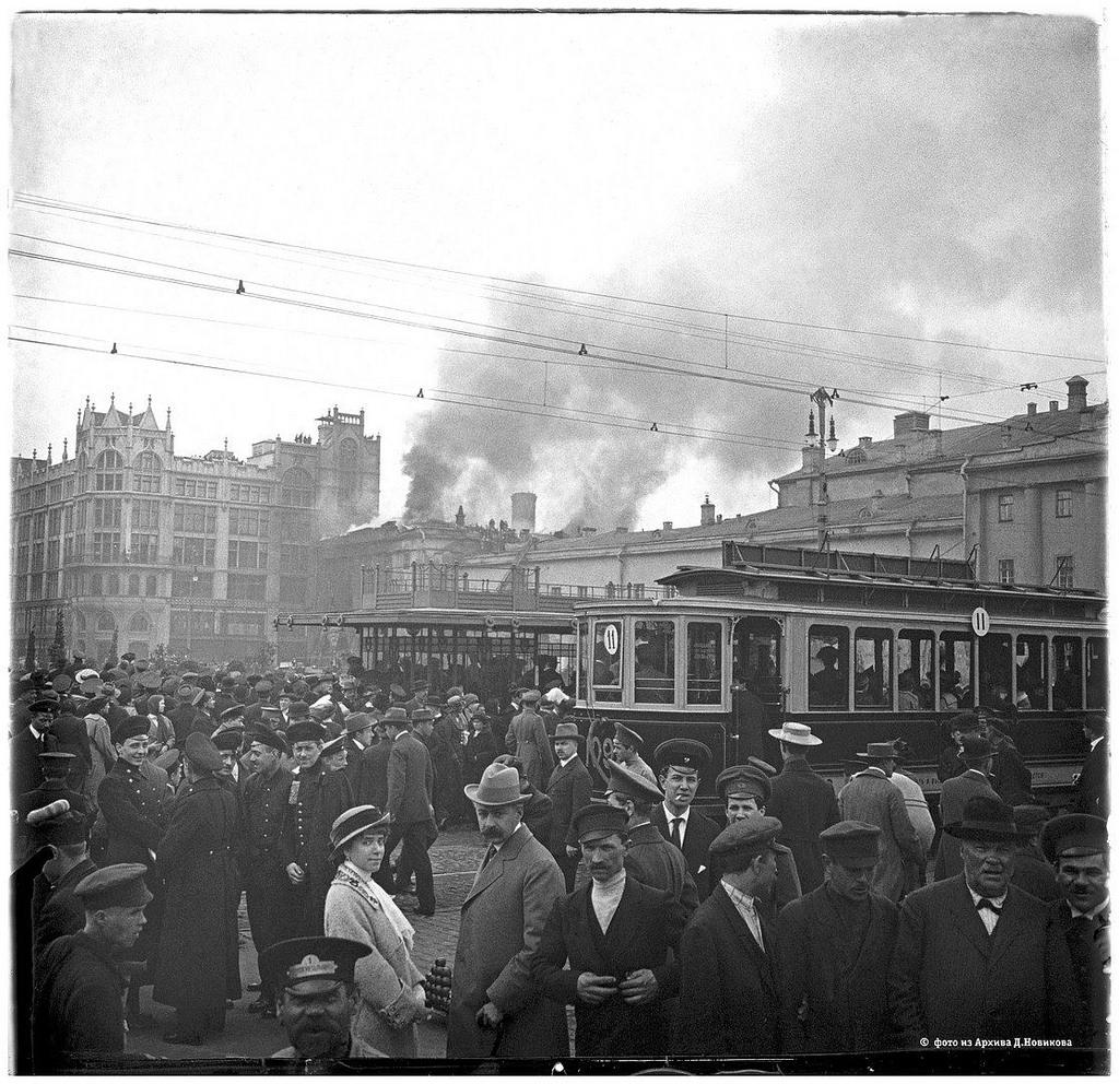 Театральная площадь. Пожар Малого театра. 2 мая 1914.