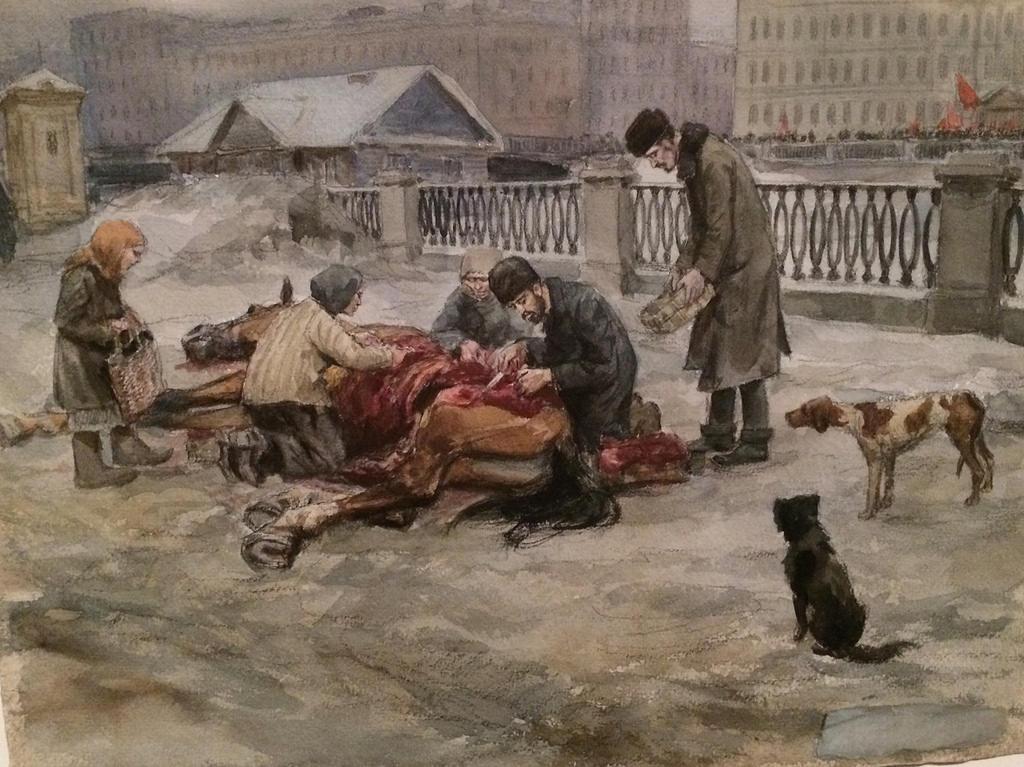 1919. Разделка павшей лошади на улице (у Аничкова моста)