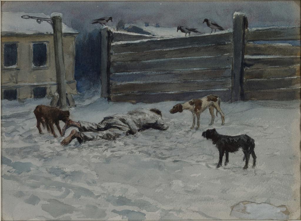1919. Человек, умерший от голода, становится добычей голодных собак. Нарисовано с натуры