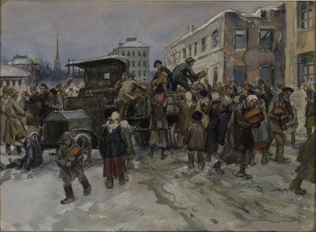 1920. Голодные рабочие в Петрограде грабят военный грузовик с хлебом