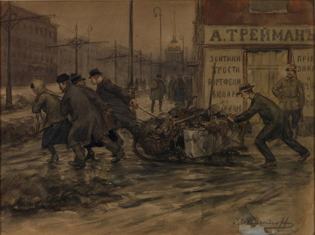 1920. Купцы и дворяне на работах по вывозу мусора со дворов