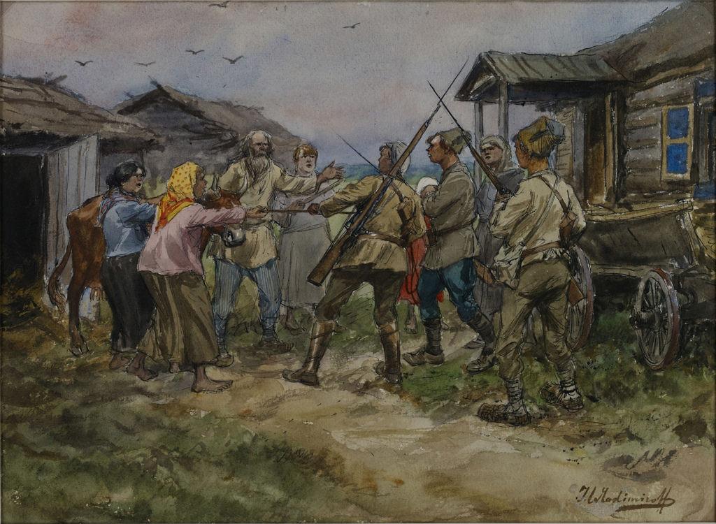 1920. Реквизиция крупного рогатого скота для Красной Армии в деревне недалеко от Луги