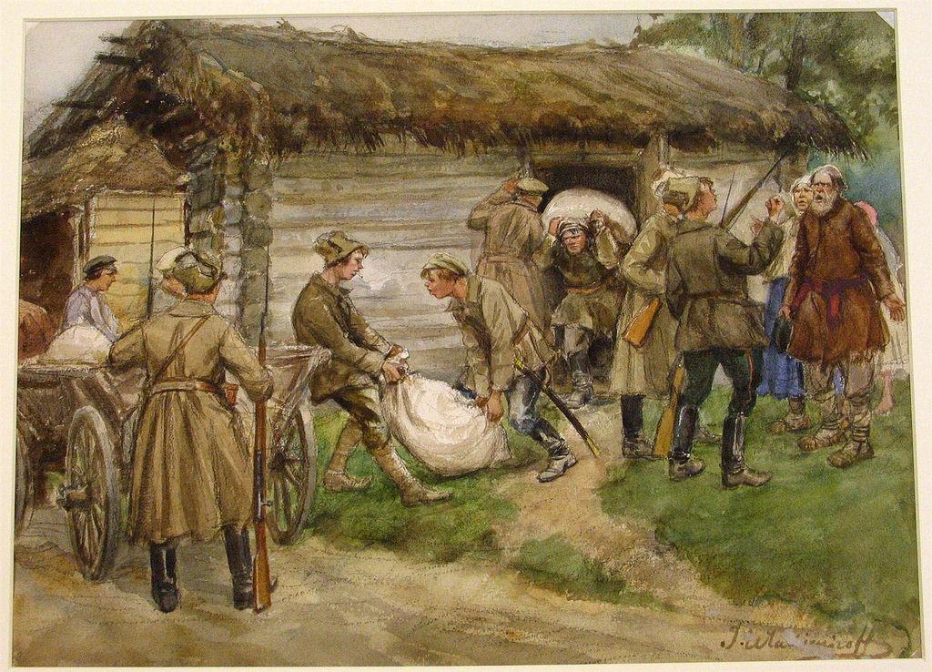 1920. Реквизиция муки у богатых крестьян в деревне (сцена в окрестностях Пскова)