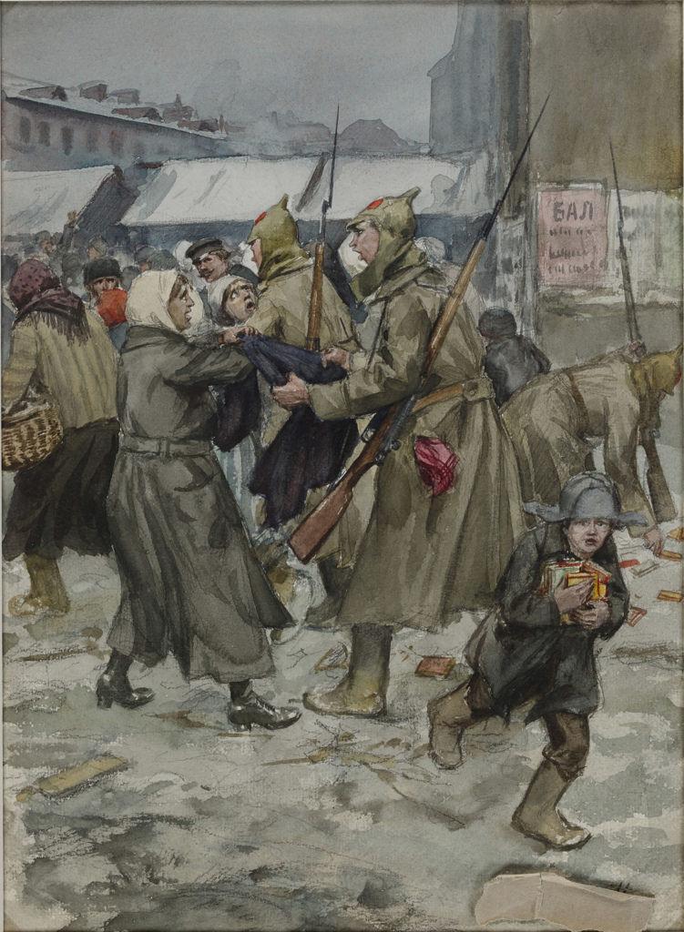 1920. Свободная торговля в Петрограде. Военные помогают себе на рынке