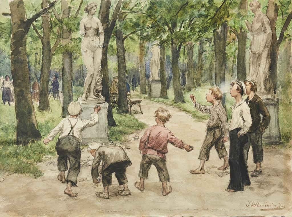 1921. Спортивные состязания в императорских садах. Петроград, июль