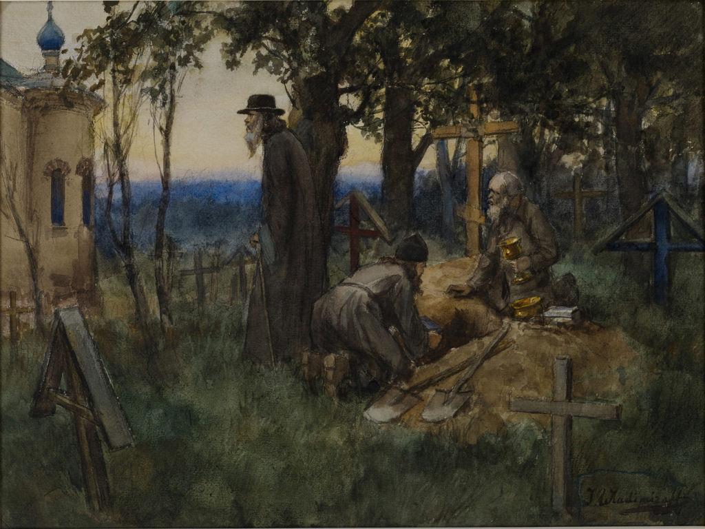 1922. Духовенство прячет церковные ценности в свежей могиле (окрестности Луги)