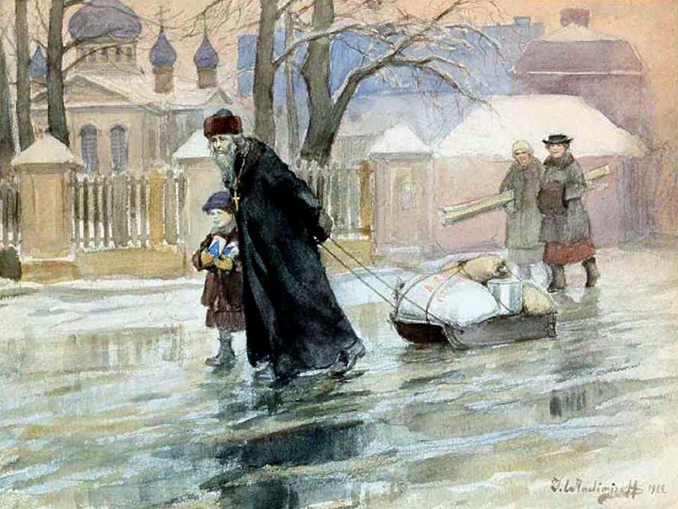 1922. Священник с продовольственной помощью от АРА