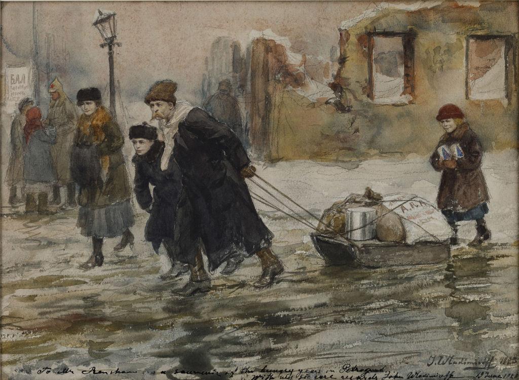 1923. Транспортировка продуктов питания на салазках