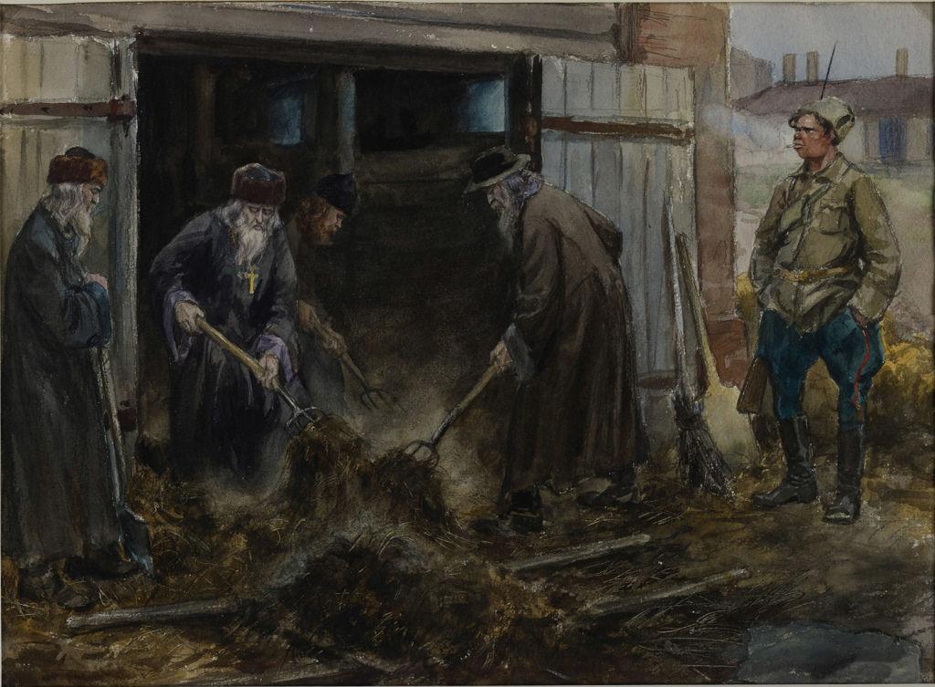 1918. Духовенство на трудовой повинности по очистке конюшен