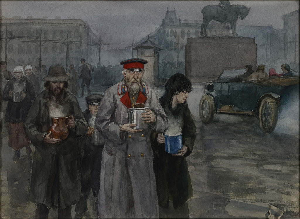 1919. Голодные времена в Петрограде. Жители возвращаются домой с ужином из коммунальной суповой кухни