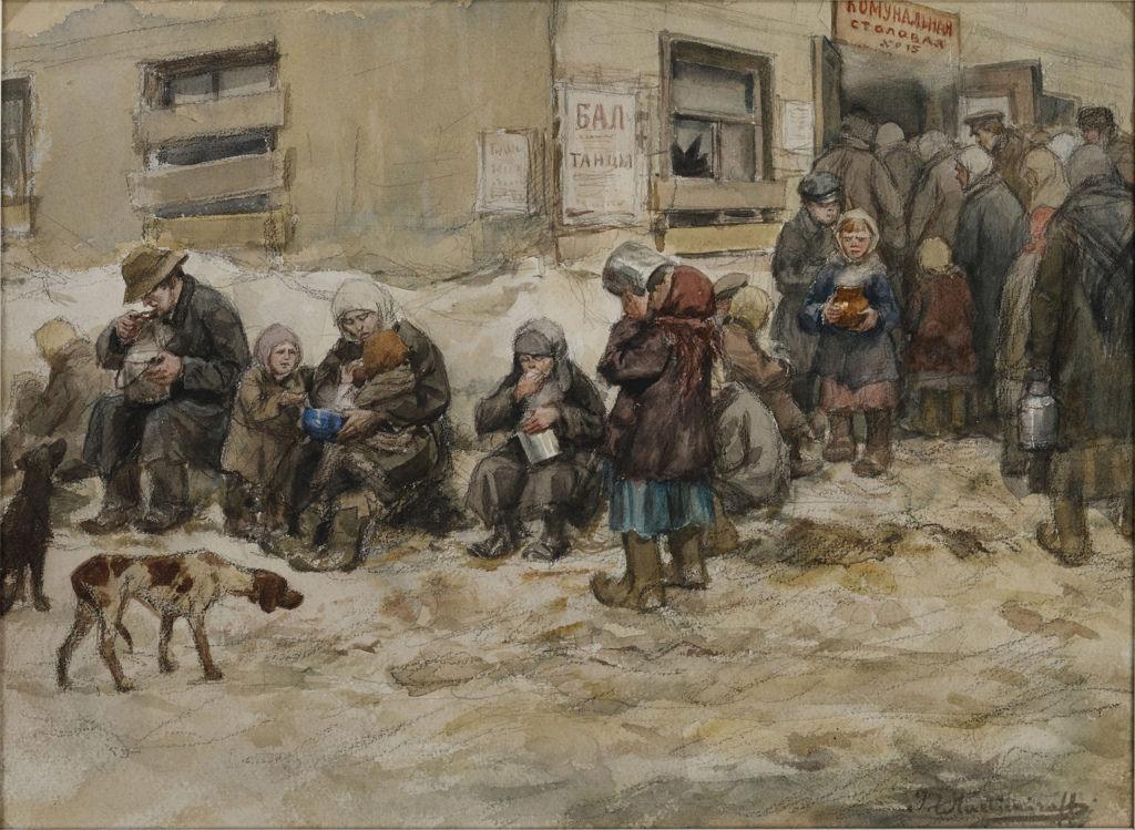 1919. Голодные дни в Петрограде — голодные люди разных классов съедают свои порции у дверей «Коммунальной столовой»