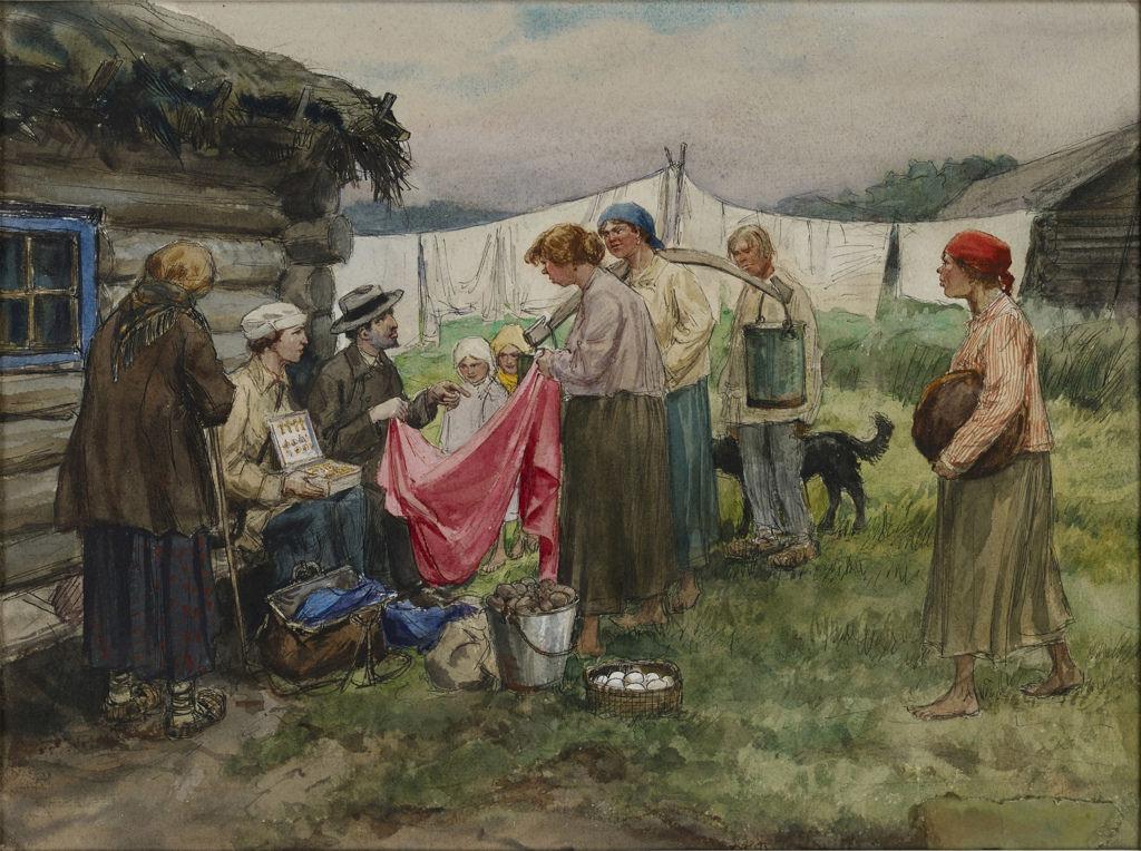 1919. Обмен вещей на продовольствие в деревне недалеко от железнодорожной станции