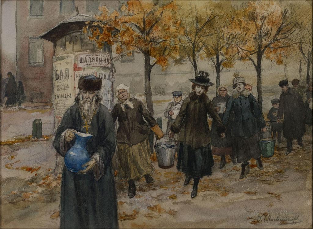 1919. Петроград без воды. Водопровод часто не работал, и жителям приходилось носить воду с Невы