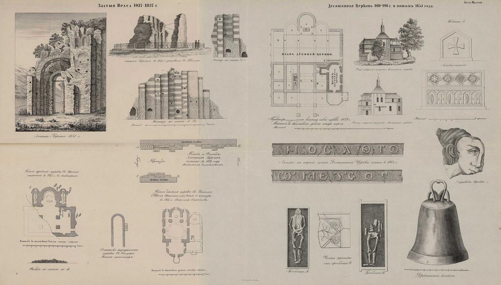 Златыя врата 1037—1837 г. Десятинная церковь 989—996 г. и потом 1635 г.