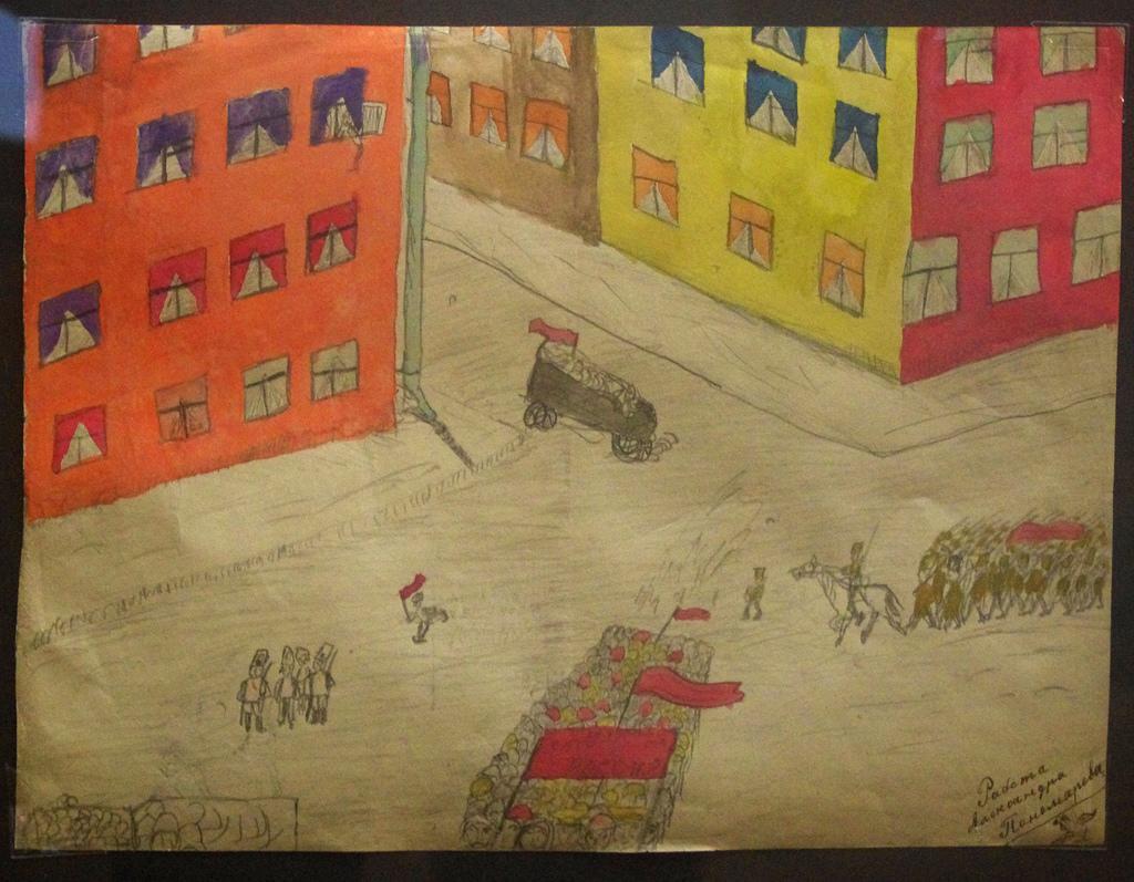 4. Демонстрация на перекрестке. Автор А. Пономарев. Москва, февраль – март 1917 г.